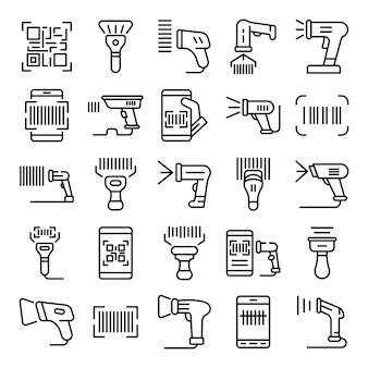 Barcode scanner icons set, outline style