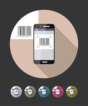 Barcode scanning phone flat style illustration