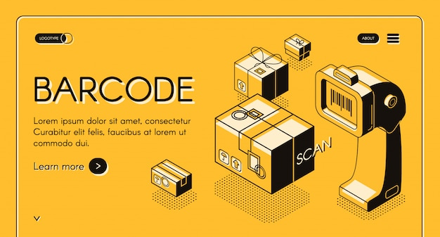 Barcode scanning web banner or site isometric with desktop barcode reader, stationary laser