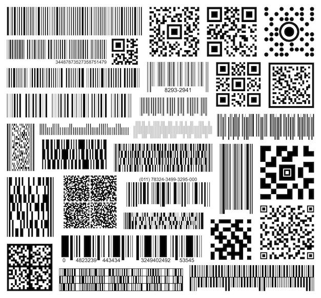 바코드 벡터 블랙 아이콘 세트입니다. 흰색 바탕에 정보의 컬렉션 벡터 코드입니다. 웹 디자인에 대 한 바코드의 고립 된 검은 그림 아이콘 집합입니다.