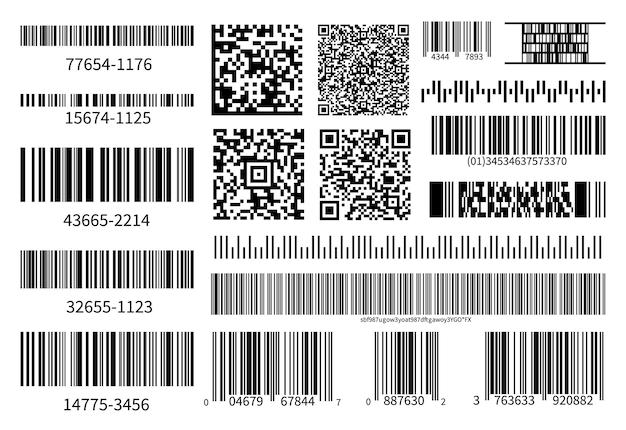 바코드 수집. 벡터 코드 정보, qr, 상점 스캔 코드. 산업 코딩 정보. 스캔 용 일러스트레이션 데이터 qr, 제품 바코드