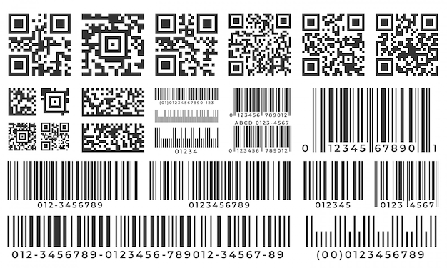 Barcodes. scan bar label, qr code and industrial barcode. product inventory badge, codes stripe sticker and package bars  set