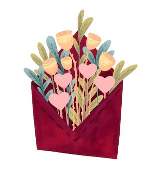 꽃 장미와 음유 시인 봉투 편지