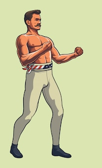 Bare knucke boxing fighter full body