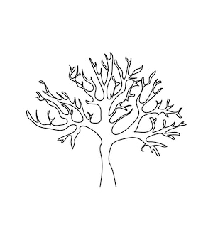 Bare tree one line art continuous line of tree wood flora tree without leaves branches crown