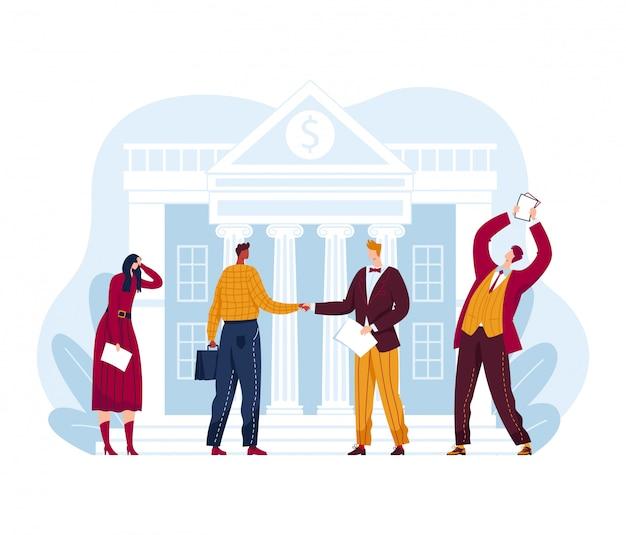 바겐 세일 판매 점유율, 건물 집 주식 시장 교환, 사업가 사업가 투자자 흰색, 만화 그림에 격리.