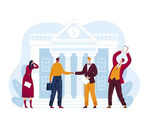 Bargain sale share, building house stock market exchange, businessman businesswoman investor isolated on white, cartoon illustration.
