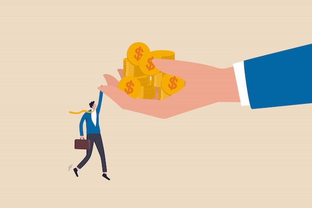 Bargain stock investment with high return in economic recession or financial crisis, high risk high return metaphor concept, businessman investor holding big hand tight with money coins.
