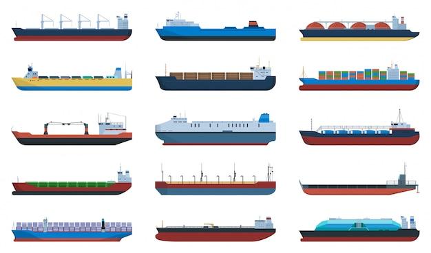 Баржа мультфильм установить значок. грузовой корабль иллюстрации