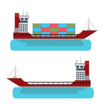 はしけ。商品の輸送用のコンテナ。海上配達。貨物の配達。フラットスタイル。産業輸送。白い背景で隔離。ベクトルイラスト。