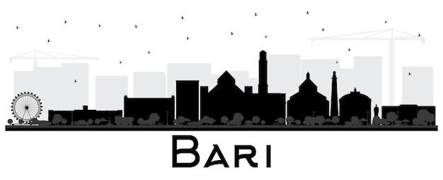흰색 절연 검은 건물 바리 이탈리아 도시 스카이 라인 실루엣. 벡터 일러스트 레이 션. 현대 건축과 비즈니스 여행 및 관광 개념입니다. 랜드마크가 있는 바리 도시 풍경.