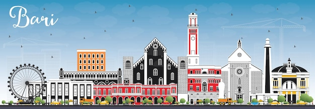 회색 건물과 푸른 하늘이 있는 바리 이탈리아 도시의 스카이라인. 벡터 일러스트 레이 션. 현대 건축과 비즈니스 여행 및 관광 개념입니다. 랜드마크가 있는 바리 도시 풍경.