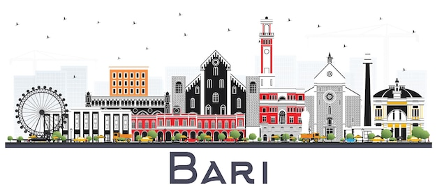 Горизонт города италии бари с серыми зданиями изолированные на белизне. городской пейзаж бари с достопримечательностями.