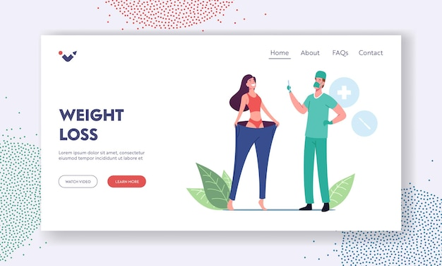 Bariatric stomach reducation, liposuction, weight loss or slimming landing page template. slim woman wearing oversize pants, surgeon doctor character with scalpel. cartoon people vector illustration