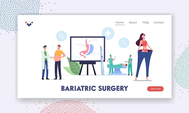 Bariatric surgery stomach reduction landing page template. overweight patients characters with weight problems visit clinic to reduce stomach gastrectomy procedure. cartoon people vector illustration