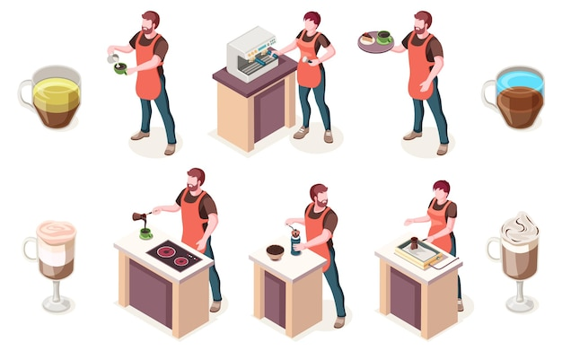 Бариста и кофейня, изометрические элементы кафе или кофейни. мужчина-бариста готовит кофе в машине, эспрессо, латте или капучино и напиток американо, подает на подносе