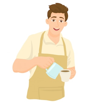 Barista in apron, pouring milk into a cup