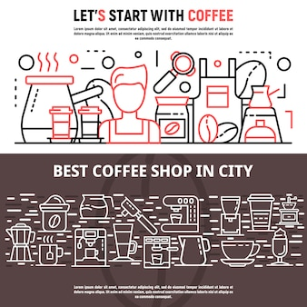 Barista banner set, outline style