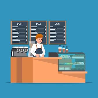 コーヒーショップのカウンターバーの後ろにあるバリスタ。コーヒーショップバーカウンターのデザイン。