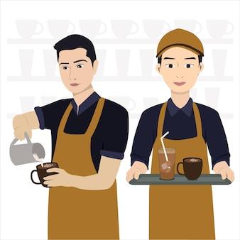 Бариста мальчик кафе обслуживания векторные иллюстрации