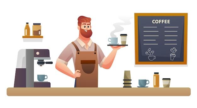 コーヒーショップカウンターイラストでトレイとコーヒーを運ぶバリスタ