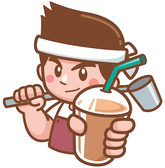 Barista cartoon character presenting coffee