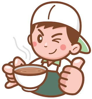 Barista cartoon character