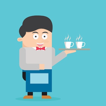Barista cartoon vector illustration