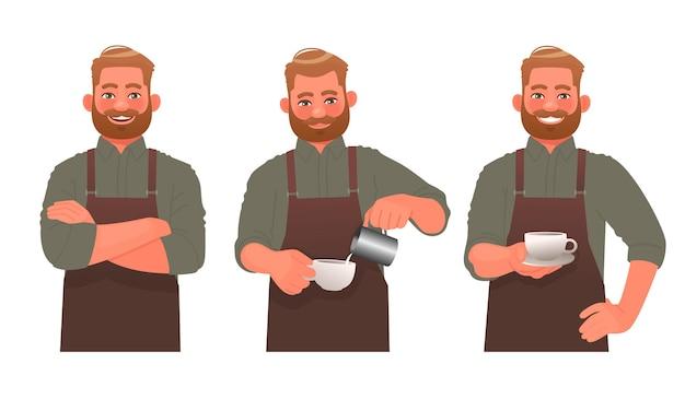 バリスタの文字セット。エプロンの男、白い背景の上のさまざまなポーズでコーヒーショップの労働者。コーヒーを作ります。漫画スタイルのベクトル図