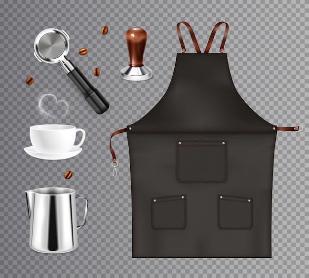 Barista coffee equipment realistic transparent set with isolated images of dickey kettles and cups with beans