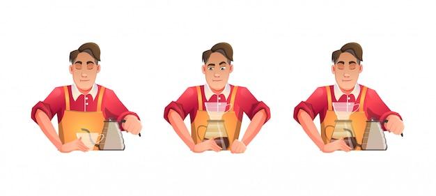 바리 스타 커피 남자 빨간 천으로 요리법으로 음료를 칵테일-만화 일러스트 레이션