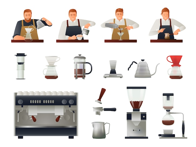 Barista and coffee set Free Vector