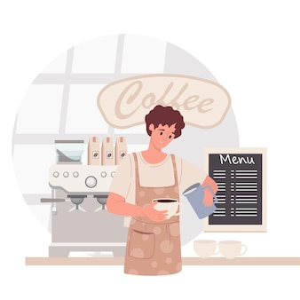Barista in coffee shop. man in apron making coffee, offering takeaway cup. cafe concept. vector illustration