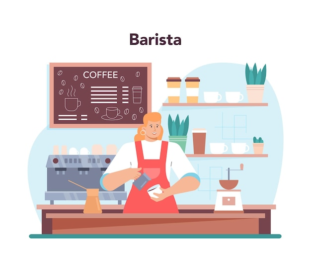 バリスタのコンセプト。ホットコーヒーのカップを作るバーテンダー。ミルクでエネルギッシュなおいしい飲み物を作る喫茶店の労働者。アメリカーノとカプチーノ、エスプレッソとモカ。フラットベクトルイラスト