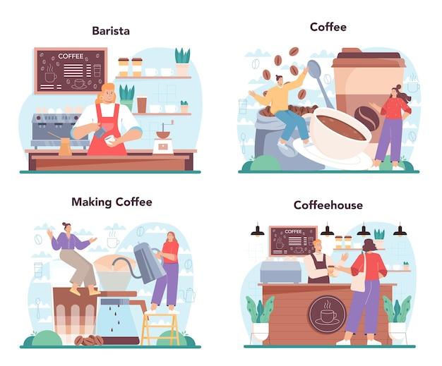 Набор концепции бариста бармен делает чашку горячего кофе в кофейне