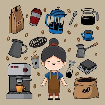 바리 스타 낙서 삽화