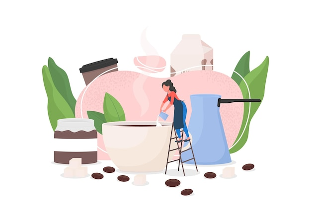 Barista flat concept illustration