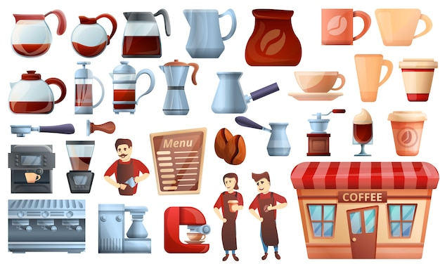 Barista icons set, cartoon style