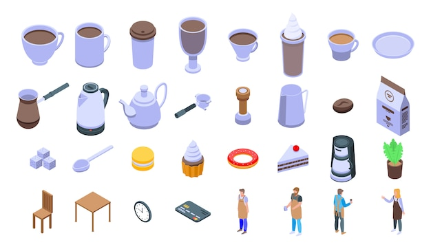 Barista icons set