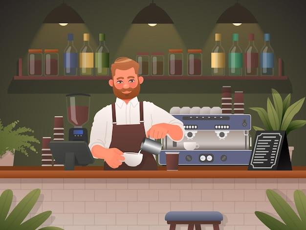 바리스타는 카페 숍에서 커피를 만듭니다. 만화 스타일의 벡터 일러스트 레이 션