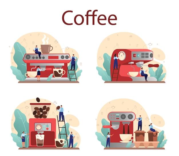 Бариста делает чашку горячего кофе