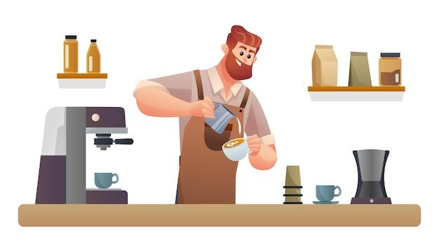 バリスタが喫茶店のカウンターでコーヒーを淹れるイラスト