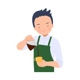 바리 스타 남자가 커피를 끓였습니다. 라떼 아트 만들기. 커피 숍 노동자. 화이트.