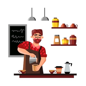 Бариста мужчина делает чашку кофе с горячим напитком
