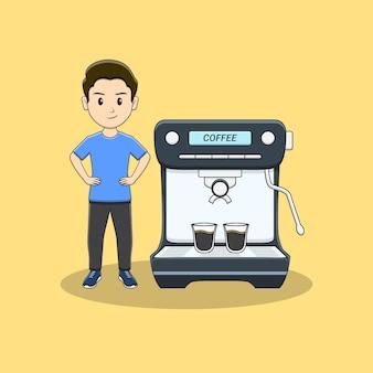 コーヒーマシンを持つバリスタ男