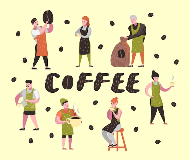 Barista man and woman flat characters in coffee shop