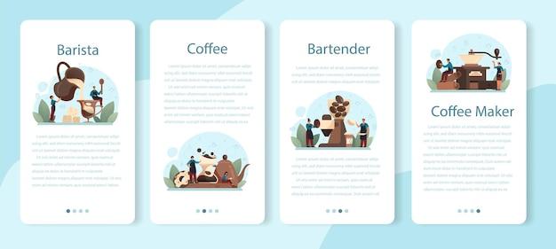 Barista mobile application banner set