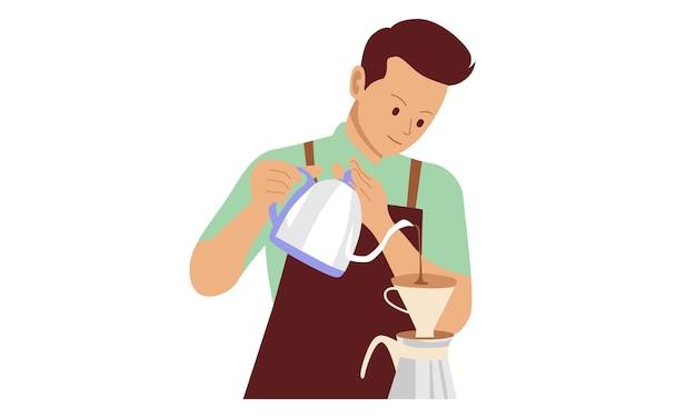 コーヒーに牛乳を注ぐバリスタ