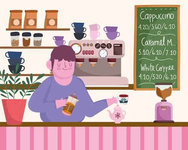 コーヒーを準備するバリスタ