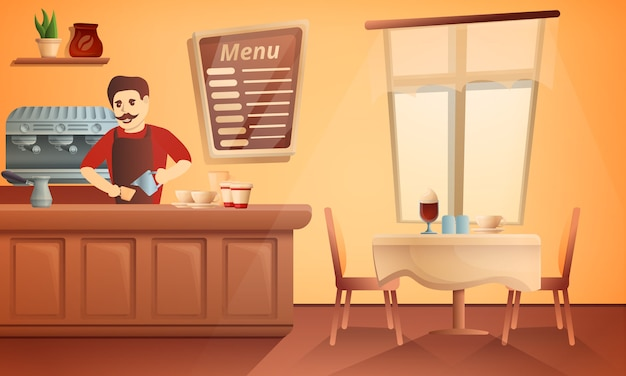 Barista restaurant concept illustration, cartoon style